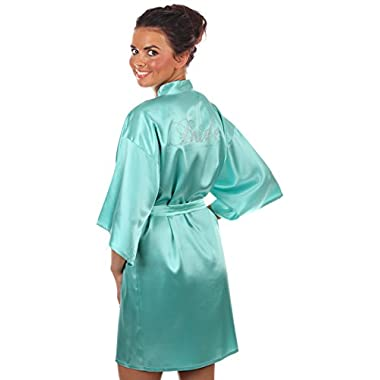 VEAMI Women's Short Kimono Robe-Aqua Breeze-Medium, Bride Edition