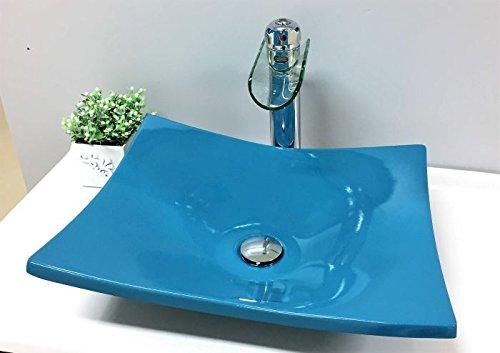 Cuba Pia De Apoio Para Banheiro Toleato Bari 43 Cm Marmorite Azul Turquesa