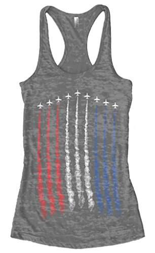 Threadrock Women's Red White Blue Air Force Flyover Burnout Racerback Tank Top M Charcoal Cotton Baby Rib Racerback Tank