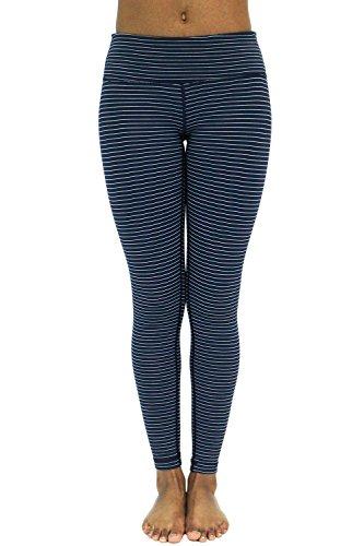 Yisqzjzj Fleece Lined Leggings - Yoga Pants Navy/Mint StripeX-Large (Dillards Robes)