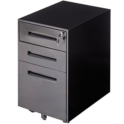 File Cabinet Rolling A4 File Sliding Drawer Office Organizer Storage Metal Black by Arama-ix