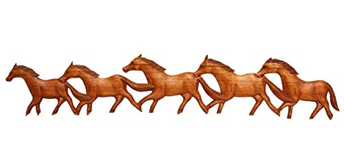 G6 Collection Wooden Hand Carved Running Horses Wall Plaque Hanging Art Handcrafted Handmade Decorative Home Decor Accent Rustic Decoration -