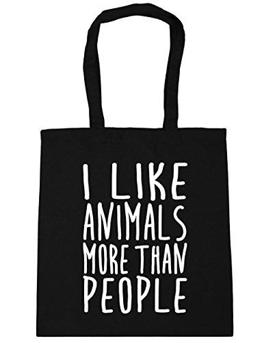 HippoWarehouse bolsa al hombro, para la compra, bolsa de playa con mensaje en inglés I like animals more than people, 42cm x 38cm, 10litros negro