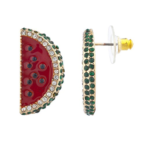 Pave Enamel Ring Two Tone (Lux Accessories Gold Tone Red Pave Stone Watermelon Fruit Novelty Earrings)