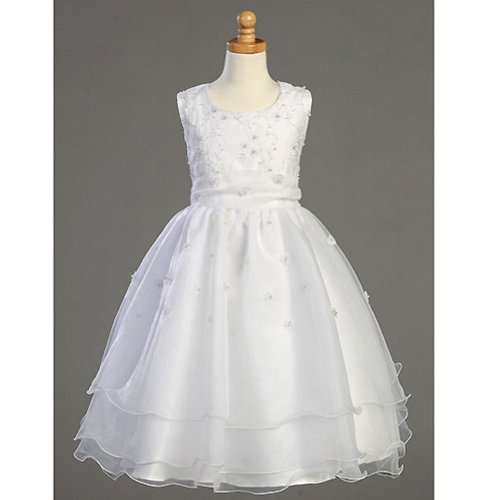 Lito Girls White Embroidered Organza Pearl First Communion Dress 10 by Lito