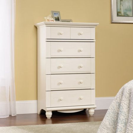 5-Drawer Dresser Antique White Rustic Wood Country Style Clothes, Bedding, Linens, Accessories Home Decor Display Storage Organizer Cabinet Furniture Bedroom, Apartment, Pad, Dorm, Kids Room