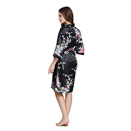 ... official photos 940d4 2066c TheRobe Womens Printing Peacock Kimono Robe  Short Sleeve Silk Bridal Robe Wedding ... 929f13c20