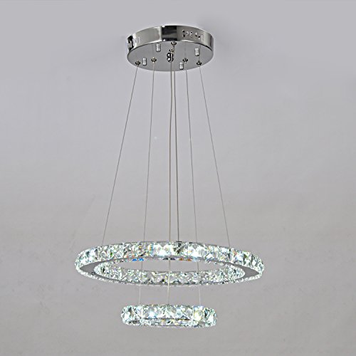LightInTheBox Classic LED K9 Crystal Quartet Beads With Double Circle Design Chandelier Pendant Lights Ceiling - Chandelier Wood Circle