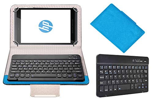 Acm Wireless Bluetooth Keyboard Case Compatible with Hp Pro Slate 8 Tablet Flip Cover Stand Study Gaming Blue