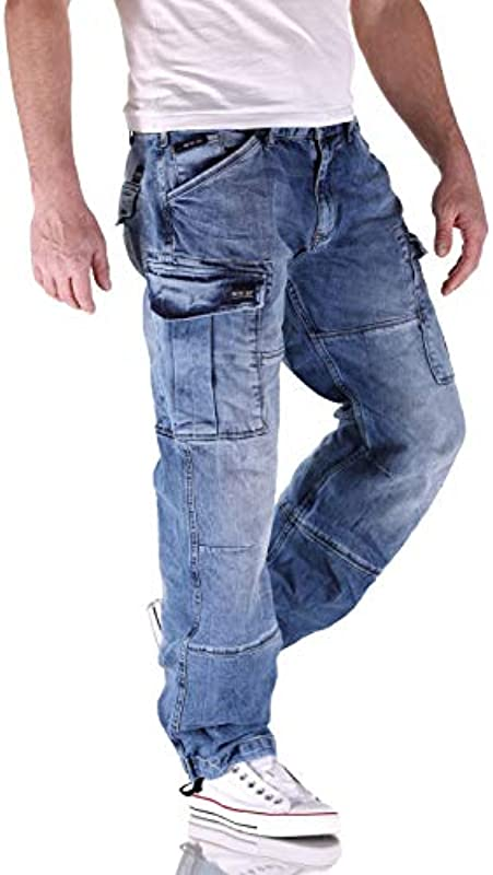 Big Seven Brian Medium Blue Cargo jeansy męskie: Odzież