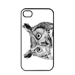 Cute popular owl Design Apple iPhone 4 / 4s TPU Soft Black or White case (Black)