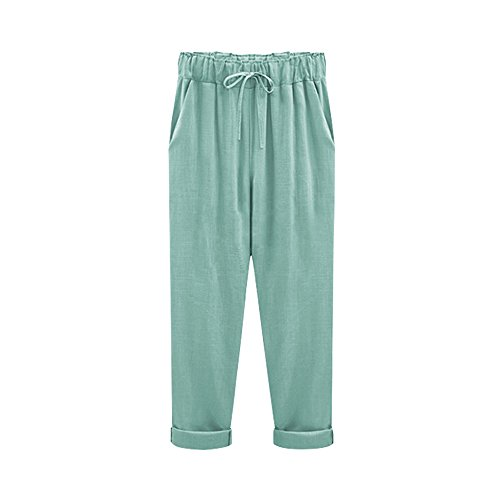 Women's Elastic Waist Casual Relaxed Fit Capris Pants Drawstring Cotton Linen Cropped Pants Turquoise 7 Tag 4XL-US 12