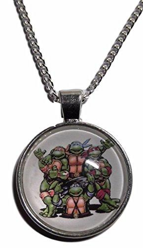 Teenage Mutant Ninja Turtles Logo Glass Domed Pendant Necklace -