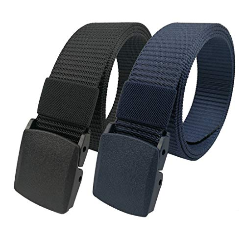 LARRONKETY Nylon Web Belts Military Tactical Men Waist Belt with Plastic Buckle(solid navy+black)