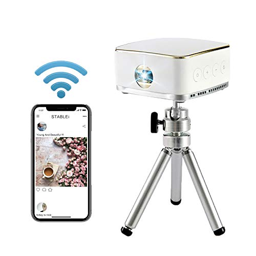 STABLEi Smartphone Projector, Mini Portable Video Projector for iPhone and Android,Pico Pocket Home Theater Movie Projector,Support 1080P Full HD Display,Wireless Bluetooth and WiFi,Built-in Speakers