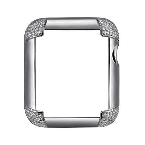 (.925 Sterling Silver & Rhodium Plated Jewelry-Style Apple Watch Case with Swarovski Zirconia CZ Pavé Corners - Large (Fits 42mm iWatch))