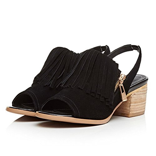 AllhqFashion Womens Frosted Peep Toe Kitten-Heels Zipper Solid Sandals Black g0FyXE