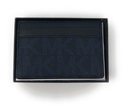 Michael Kors Monogram Leather Card Case Money Clip Mini Wallet Navy  Small ,blue