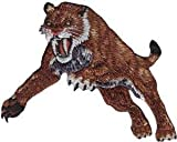 Novelty Iron On Patch -Dinosaurs - Saber Toothed Tiger - Logo Patch Applique