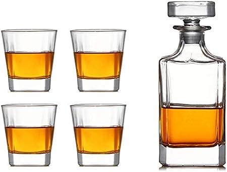 GAOXIAOMEI Juego De Decantador De Vino De 5 Piezas Juego De Decantador De Whisky Decoración De Oficina para Hombres Juego De Botellas De Licor para Vodka Scotch Bourbon 750 Ml / 320 Ml