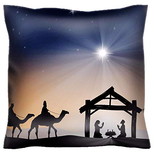 Handmade 16x16 Throw Pillow case Polyester Satin pillowcase Decorative Soft Pillow Covers Protector sofa Bed Couch IMAGE ID 34260640 Traditional Christian Christmas Nativity scene with the three -