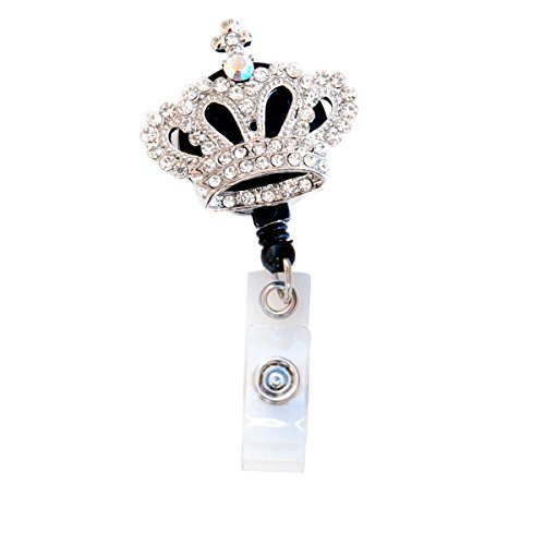 3D Clear Rhinestone Mini Crown Badge Reel Retractable ID Badge Holder