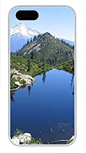 iPhone 5 5S Case Landscapes mountain lake 3 PC Custom iPhone 5 5S Case Cover White