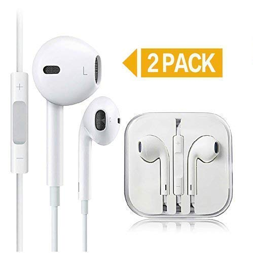 2 Pack Earphones/Earbuds/Headphones, KEKH Stereo Microphone&Remote Control IP 6/5/4 Pad Pod More Android Smartphones Compatible 3.5 mm Headphone(White 010)