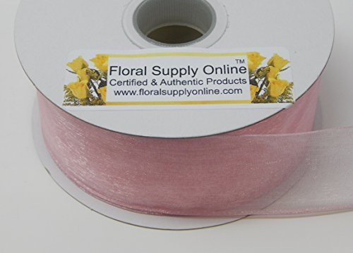 Wired Edge Sheer Organza Ribbon, (1-1/2 Inch x 25 Yard, (Pink Sheer Organza Spool)