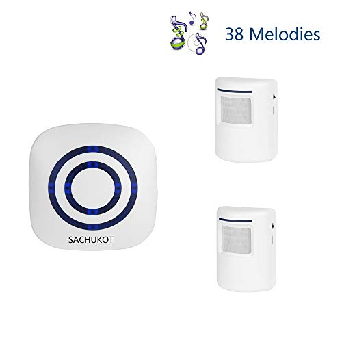 Wireless Driveway Alert, SACHUKOT Home Security System Alarm Visitor Door Bell Chime Infrared Motion Sensor Chime with 1 Receiver and 2 Sensor-38 Melodies