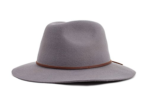 c5d85c72 Brixton Men's Wesley Medium Brim Felt Fedora Hat, Light Grey ...