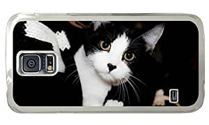 Hipster Samsung Galaxy S5 Case grove cover cute black white cat PC Transparent for Samsung S5