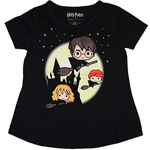 HARRY POTTER Girl's T-Shirt Glitter Print Hermoine Ron Brooms Night (Large (14), Black) ()