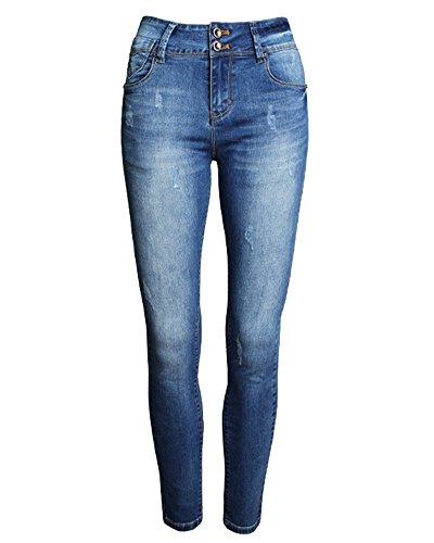Femme Casual Jeggings Pants Stretch Leggings Crayon Jeans Pantalons Bleu