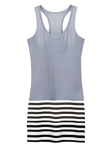 Finejo Women Sleeveless Summer Bodycon Elegant Ladies Stripe Sexy Dresses