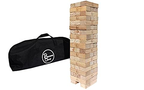 Giant Wooden Tumbling Timbers | Mega-Sized Pine Blocks Stacking Game for Indoor Outdoor Use | Puzzles Like Fun for Kids & Adults | Heavy Duty Duffle Bag Included | Topple or Tumble the Tower to Win