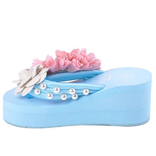 Btrada Platforms Flip Flops Sandals For Women-Summer Beach Wedges Thick Bottom Anti-Slip Clip Toe Flower Slides Blue phFMV86Mj