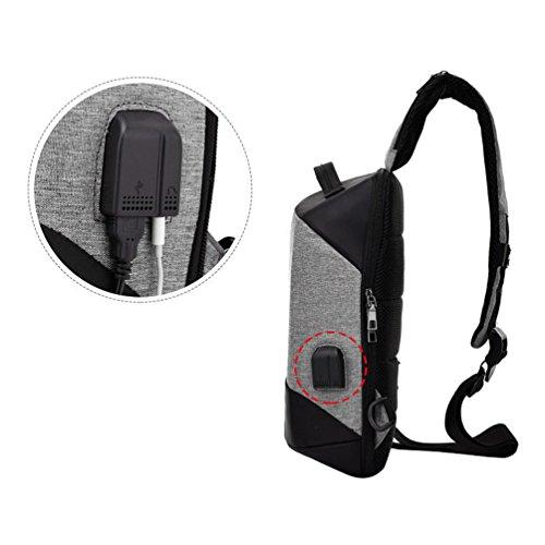 Vbiger Sling Bag Umhängetasche Beiläufig Brusttasche Audio Port und USB Ladeanschluss Schwarz