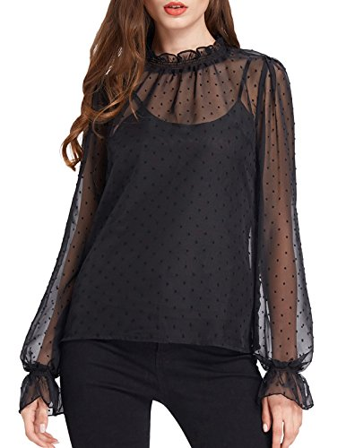 Women's Smocked Gathered Sleeve Top Two Pieces Set (M,Black) (Sleeve Top Gathered)