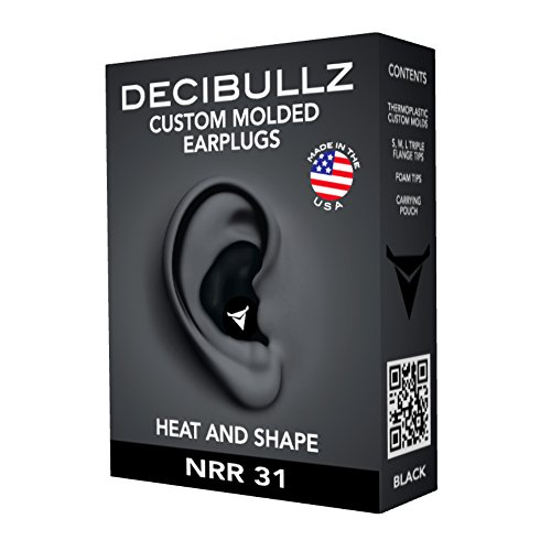 Decibullz- Custom Molded Earplugs, 31dB Highest NRR, Comfortable Hearing Protection for Shooting, Travel, Sleeping, Swimming, Work and Concerts (Black)