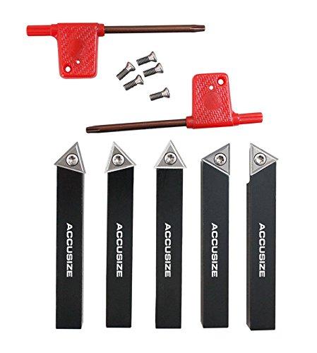 AccusizeTools - 5 Pcs/Set 1/2'' Indexable Carbide Insert Turning Tool Bits, 2380-5082