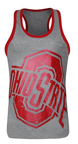 Women's Ohio State Buckeyes Cotton Crew Neck Sexy Tank Tops - Grey & Red (Size: L)