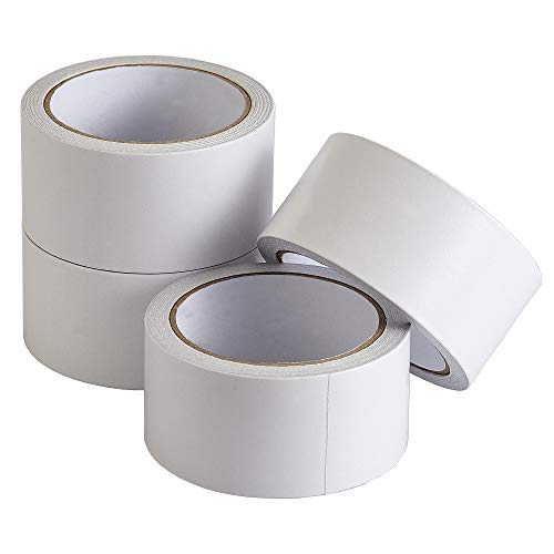 Face Stationery - Lichamp Double-Sided Tape, 4 Pack White Color Double Face Adhesive Tape, 2 Inch x 16.5 Yards x 4 Rolls (66 Total Yards), for Office School Stationery, Arts, Crafts, Card Making, Gift Wrapping