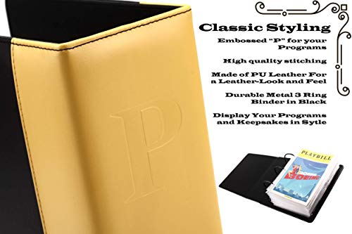 Broadway Play Program and Theater Playbill Binder with 30 Custom Sheet Protectors - PU Leather - Fits Playbills from Mid 1980s to Modern (Yellow/Black EmbossedP) by 2Fold Supply (Image #4)