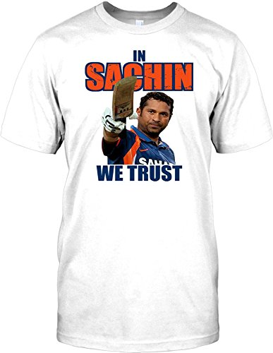 "In Sachin We Trust - Indian Cricket God Mens T Shirt - white - Adult Mens 38-40"" M"