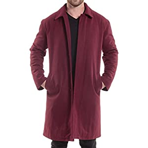 alpine swiss Zach Mens Wool Trench Coat Knee Length Overcoat Burgundy Med