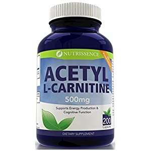 Acetyl L Carnitine 500mg 200 capsules Nutrissence