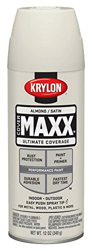 Krylon K09155000 COVERMAXX Spray Paint, Satin Almond, 12 Ounce