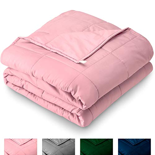 (Bare Home Weighted Blanket 10lb - Throw/Travel Size for Kids or Adult - All-Natural 100% Cotton - Heavy Blanket Nontoxic Glass Beads (Light Pink, 40