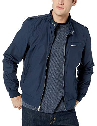 Members Only Men's Original Iconic Racer Jacket, Navy, M